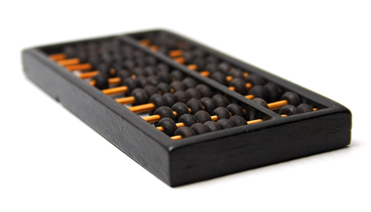 The configuration of this abacus can be used for both decimal and hexadecimal computation